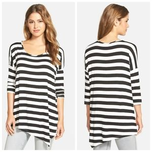 BOBEAU striped assemytric tunic top
